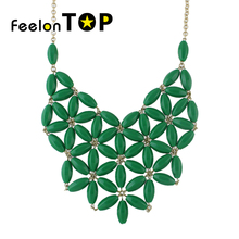 Feelontop Gold-Color Alloy Chains Green Pink Orange Beads Flower Choker Collar Necklace Costume Jewelry Fashion For Women