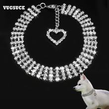 VUGSUCE Rhinestones Pet Dog Collar for Chihuahua Puppy Fine Love Dog Necklace for Small Dogs Cat Pet Accessories White/Blue/Pink