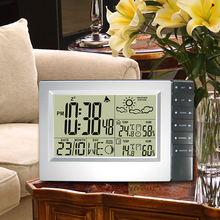 Digital RF RCC Wireless Weather Station Digital Alarm Clock with Indoor Outdoor Thermometer Hygrometer Radio Controlled Time