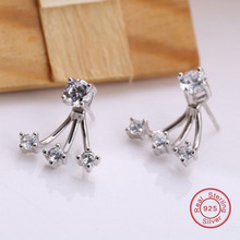 Wedding Earrings Ear Jackets Authentic 925 Sterling Silver with AAA Cubic Zirconia Luxury Birthday Gift DE131