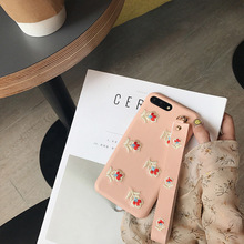 Luxury Embroidery Flower Strap PU Case For iPhone 7 7plus Japanese Style For iPhone6 6plus 6s 6splus Wrist Grip Cases Hard Cover