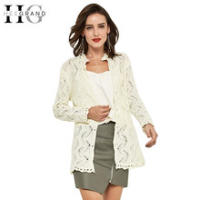 HEE GRAND 2016 Spring New Fashion Women's Sweet Faux Pearl Button Lace Collar Wave Cutout Cardigan WWK036(China)