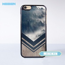 MIKIKIN Mountain Fog Navy Chevron Wood Nature Cell Phone Protective Case For For iPhone 7 7 Plus 6 6S Plus SE 5 5S 5C 4 4S(China)