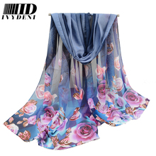 160*50cm Printed Rose Women Soft Chiffon Scarf 2016 Designer Scarf Chiffon Hijab Shawl Swimming Summer Beach Cover Up Warp