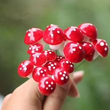 10 Pcs Garden Craft Decorations Mini Red Mushroom Shape Ornament Miniature Plant Pots Fairy DIY Dollhouse Home Party Decor(China)