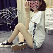 2017 news style girls wear summer casual fashion brand Korean harajuku women tops half sleeve letter loose hollow out t shirt(China)