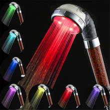 7 Colors Change Led shower Tourmaline SPA Anion Hand Held Bathroom Led Shower Head Filter Hand Shower Saving Water(China)
