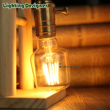 Edison Classic retro straight LED filament bulb 4W 220/240V small wine glass shape warmth glow Amber/Clear Vintage light bulb(China)