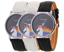 wholesale fashion women ladies horse rainbow leather watch 2017 new arrival simple design silver dial casual student wrist watch