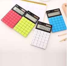 LCD Display Hot sale Creative Slim Portable mini 12 digital calculator Solar Energy crystal keyboard Dual power supply