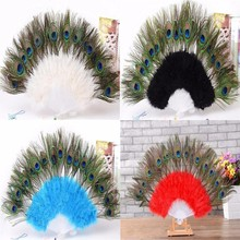 1pcs/lot wedding party room home decoration handmade white/black/blue/red/rose peacock tail feather fan for dancing Supplies