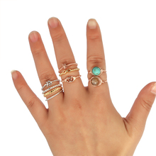 DUOYING Tiny Bead Ring with Small Charms Gold color Joint Rings Heart star leaf moon bowtie Hope Wish Faith Love for Etsy(China)