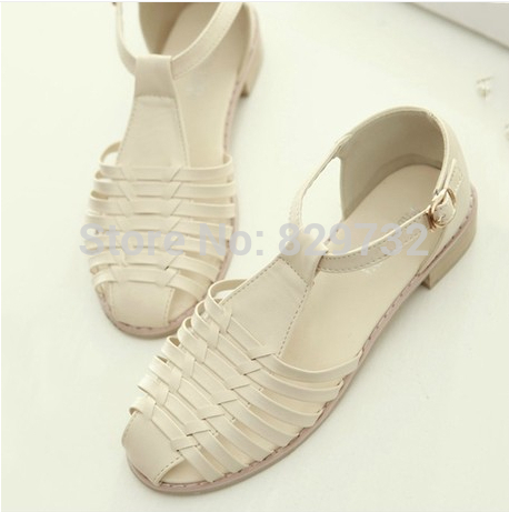 Nice New Fashion Vintage Women Sandals Round Toe Women Shoes Knitted Gladiator Star Style Small Leather flat-bottomed<br><br>Aliexpress
