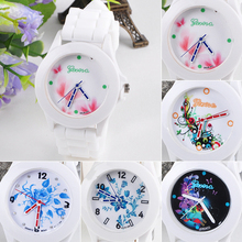 New Women's Geneva Flowers Printed White Silicone Band Analog Quartz Wrist Watch New Design 5D6U