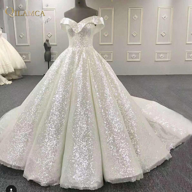 Puffy-Arabic-Prom-Dresses-White-Sequined-Shiny-Party-Dress-Vestido-Longo-2018-Middle-East-Formal-Evening