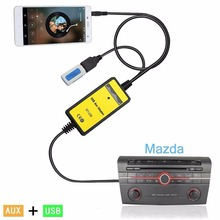 Car CD Adapter Audio MP3 Player Radio Interface USB 3.5mm Aux Connect CD Changer For Miata RX8 Mazda 323
