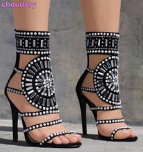 Sexy Women Bling Bling Crystal Dress Sandals Thin Strappy Shoes Round Shape Design Beaded Diamond T-stage Sandals Runway Shoes(China)