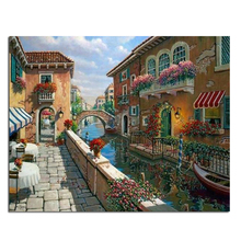 Romance Town 30x24cm New 100% Full Area Highlight Diamond Needlework Diy Diamond Painting Kit 3D Diamond Cross Stitch Embroidery