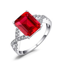 JewelryPalace 4.6ct Red Created Ruby Ring For Women Real 925 Sterling Silver Statement Fine Jewelry for Women Fashion On Sale