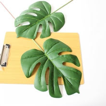 6Pcs large Artificial fake Monstera palm tree Leaves green Plastic leaf wedding DIY decoration cheap Flowers arrangement