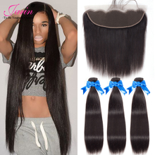 Jarin Hair Ear To Ear Lace Frontal Closure With 3 Bundles Brazilian Straight Human hair Weaves With Lace Closures Remy 4 Pcs/lot(China)