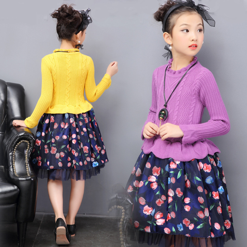 2017 Girls Dresses Long Sweater Dresses For Girls Spring Autumn Teenage Party Dresses 6 8 9 10 12 Years Kids Clothes Robe Fille<br>