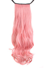 Natural loose wave with closure Synthetic Dark Pink Curly Ponytail Hair Extensions(China)