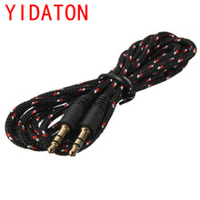 YIDATONGood Quality Black Nylon Braided Commonly Used 3.5 mm Jack Audio Stereo Male To Male Cable Aux Extension Phone Cable Cord