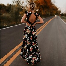 Buy YANQIN Elegant flower print lace maxi dress vestidos Sexy deep V neck backless summer dress Women long dress for $8.99 in AliExpress store