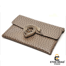 ETONWEAG Brands Ostrich Leather Men Clutch Bags Khaki Luxury Messenger Bags Zipper Document Day Clutches Organizer Shoulder Bag