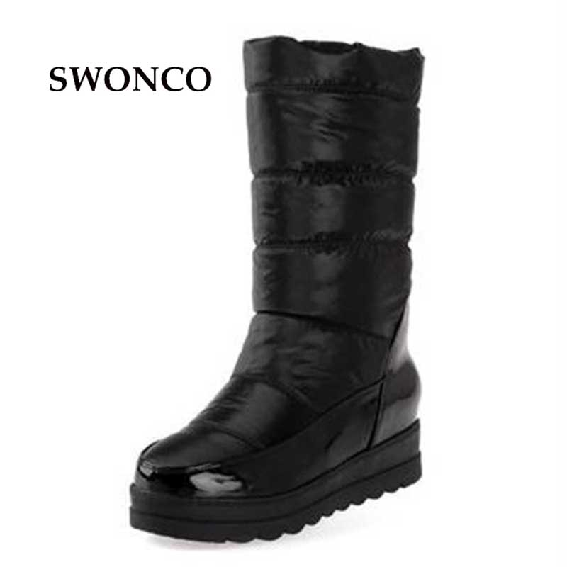 2017 Platform Winter Boots Women Mid High Ski Boots Warm Snow Boots Mid Leg Winter Shoes Size 35-40 Black White Red<br>