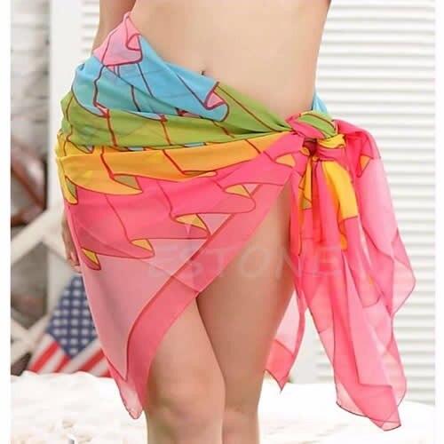 Women Beach Dress Sexy Swimsuit Beach Wear Dress Sarong Bikini Chiffon Cover-ups Wrap Pareo Skirts Towel Open-Back Swimwear 1