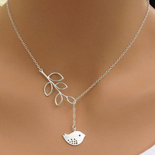 Euramerican Style Shiny Metal Chain With Delicate Bird & Leaf Pattern Pendant Necklace  88 KQS