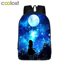 Galaxy / Universe / Unicorn / Cheshire Cat School Backpack For Teeange Girls School Bags Starry Night / Space Star Schoolbags(China)