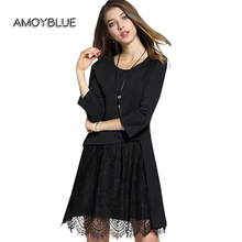 Amoyblue Women Black Lace Dress Three Quarter Loose O-Neck Patchwork Black/Wine Red Slim Casual Ladies Day Dresses Plus Size