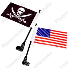 Motorbike Parts Black Rear Luggage Rack Mount Flag Pole with USA And Skull Flag Kit For Harley Electra Glide Dyna CVO UNDEFINED