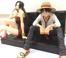 12cm 3 styles One Piece Luffy Hancock Photo House  stylist PVC Action Figure Model Toys