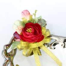 Hot Selling Party Supplies Wedding Decoration Romantic Bridegroom Corsage Ribbon Corsage Artificial Flowers
