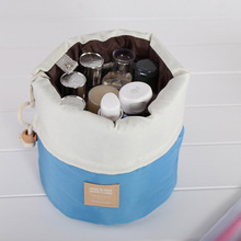 Hot Sale Barrel Shaped Nylon Travel Cosmetic Bag Storage Bags Makeup Organizer Storage Bag High Capacity Storage Bags Tools(China)