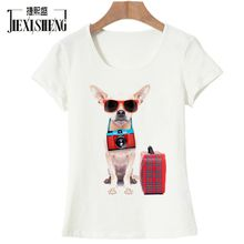 Cartoon image travel puppy Women Casual T Shirt For Girls Summer Female Shirt Short Sleeved Ladies T-shirts Woman Tops Feminine