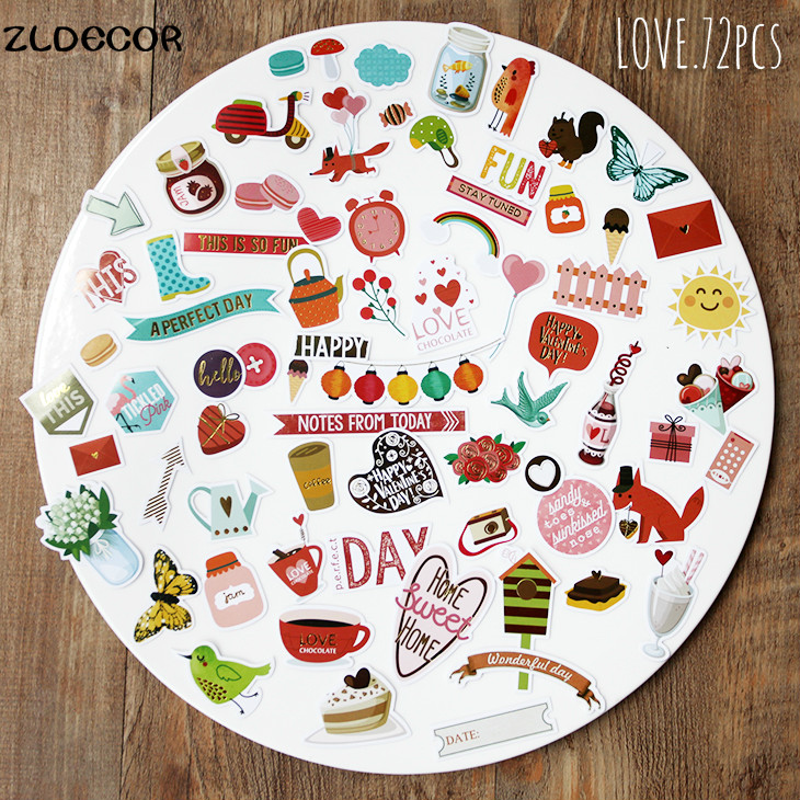 ZLDECOR A Prefect Day Die Cuts Stickers for Scrapbooking Happy Planner/Card Making/Journaling Project 72pcs(China (Mainland))