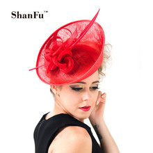 ShanFu Lady Fashion Sagittate Feather Fascinator Sinamay Wedding Hat with Headband Elegant Hair Accessories Royal Blue SFC12389
