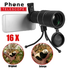 Buy Universal 16x52 Outdoor Optical Telescope Zoom Mobile Phone Lens Camera Clip + Tripod + Ring iPhone Samsung for $21.38 in AliExpress store