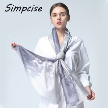 [Simpcise] 2017 Brand Silk Scarf Women Luxury bandana hijab Embroidery Scarf Scarves Shawl Lace Sjaal Beach Cover-ups S9A189044(China)