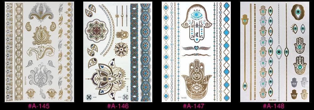 New Design Flash Removable Waterproof Gold Tattoos Metallic Temporary Tattoo Stickers Temporary Body Art Tattoo 10