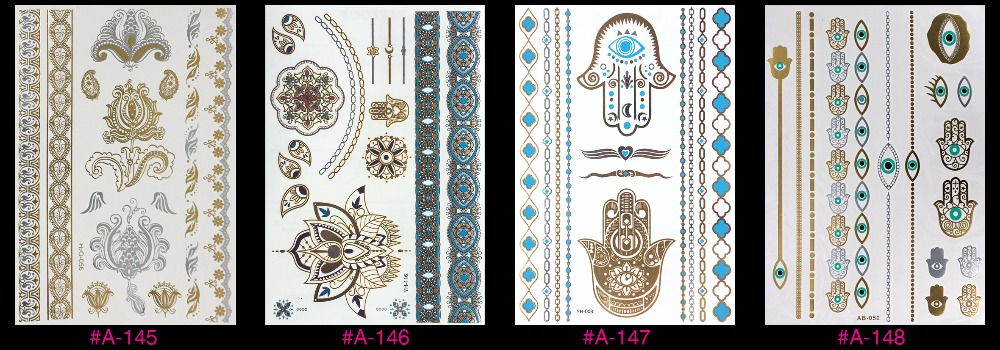 New Design Flash Removable Waterproof Gold Tattoos Metallic Temporary Tattoo Stickers Temporary Body Art Tattoo 10