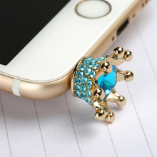Mobile phone Earphone 3.5mm AUX Jack Dust Plug imperial crown 3.5 diamond enchufe del polvo for apple Iphone 4 5 6 PC latop cork(China)