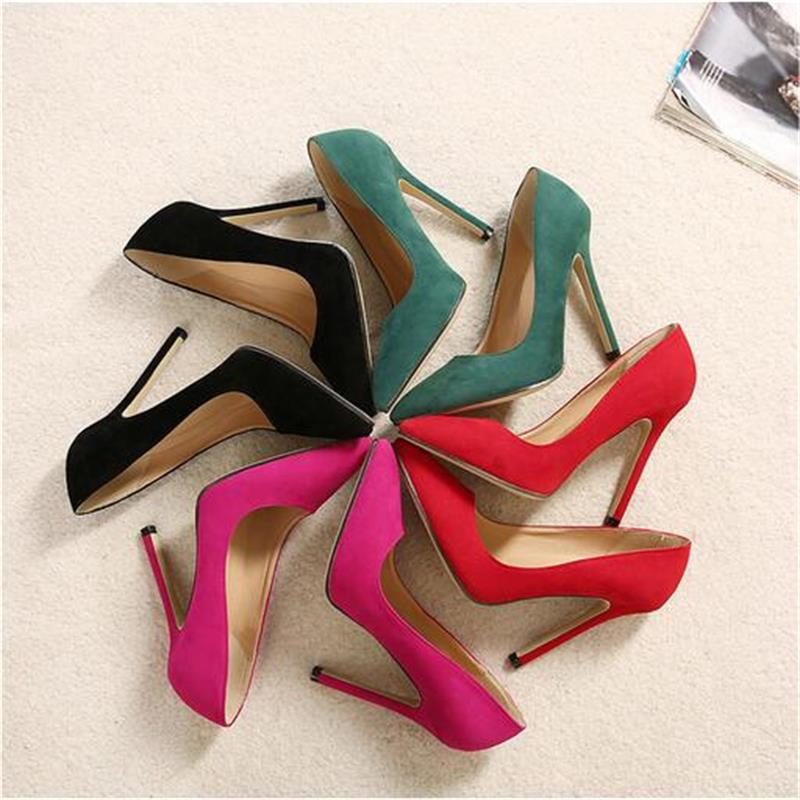 Suede High Heels Womens Shoes 11CM Super High Black Red Green Stilettos Jump Pumps Sexy Pointed Toe Wedding Heels Woman Shoes<br><br>Aliexpress