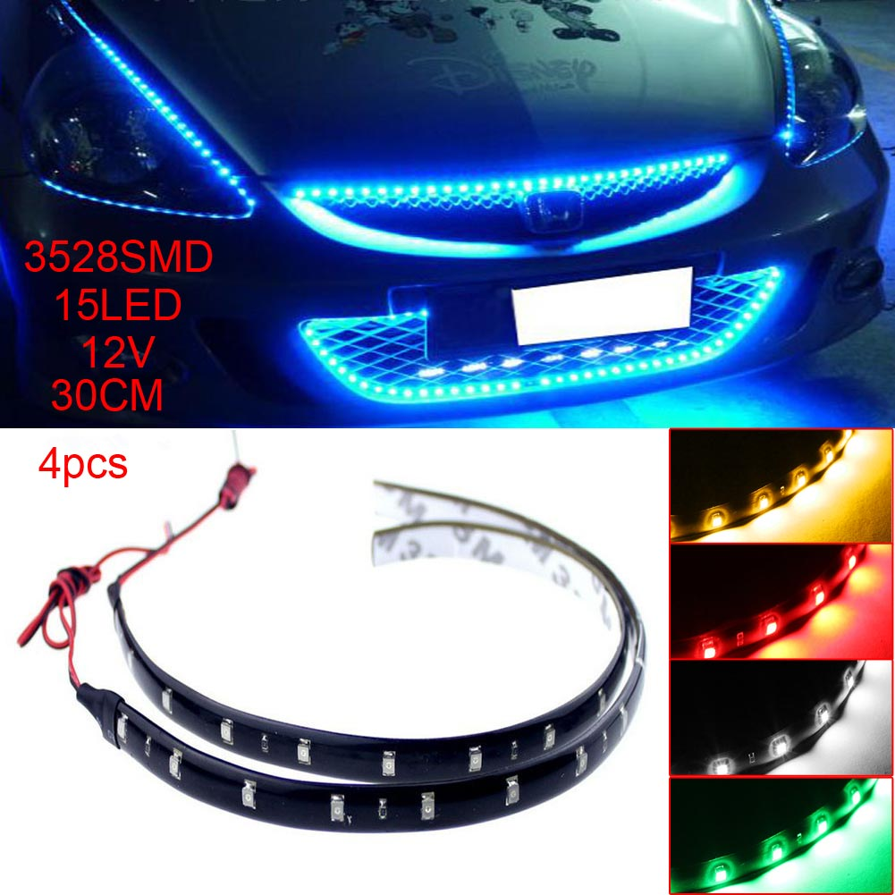 4pcs 30cm 12V 15 LED Car Auto Motorcycle Truck Flexible Strip Light 3528 SMD Waterproof Strip Lamp