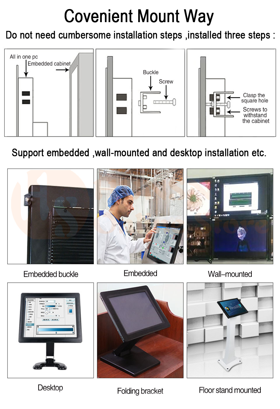 Industrial Panel PC 3855U I5 3317U Intel Core I7 J1800 J1900 D2550 HUNSN WD01 (02)